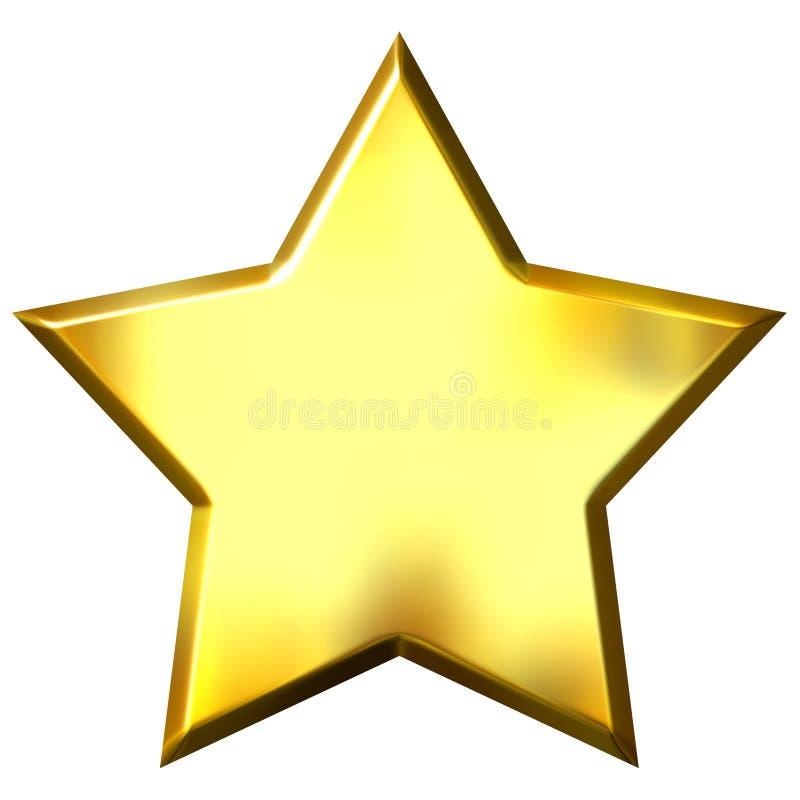 золотистая звезда 3d иллюстрация вектора