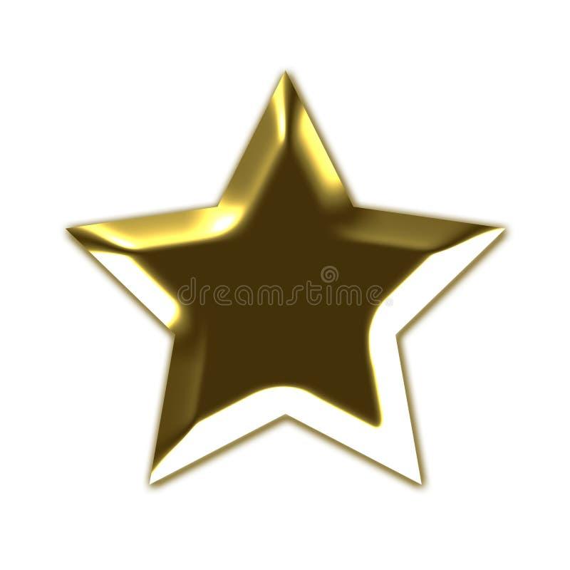 золотистая звезда 3d иллюстрация штока