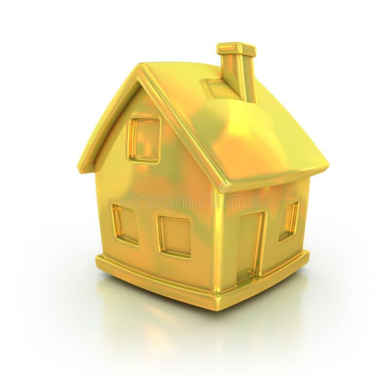 Золотистая икона дома 3d иллюстрация штока