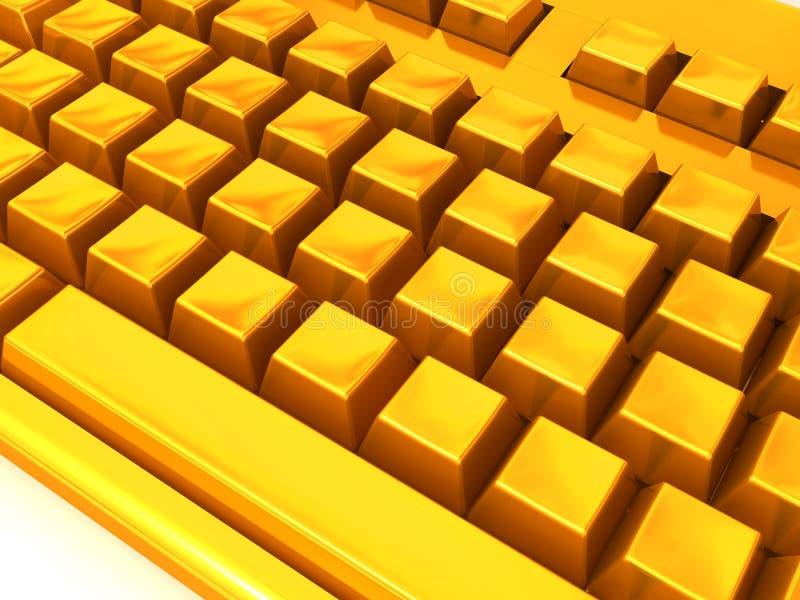 золотистая клавиатура иллюстрация вектора