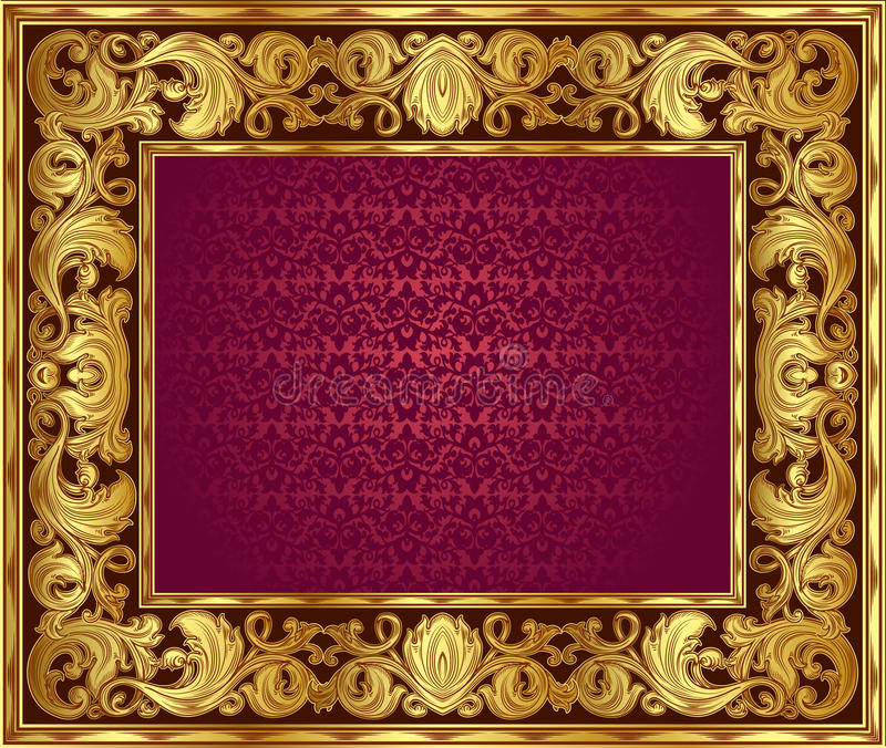 Золотистая рамка иллюстрация вектора