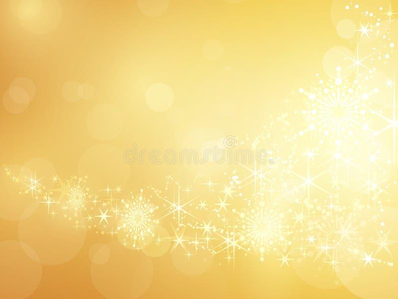 Золотистая сверкная граница звезды и снежинки бесплатная иллюстрация