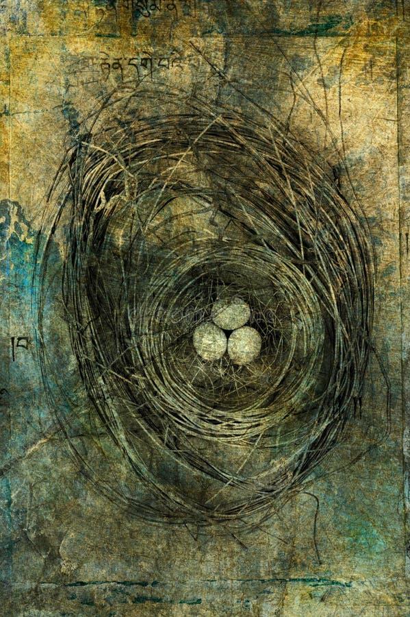 золотистое гнездй иллюстрация вектора