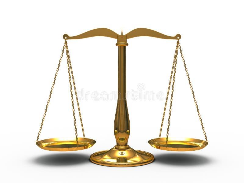Золотистое правосудие маштабов иллюстрация вектора