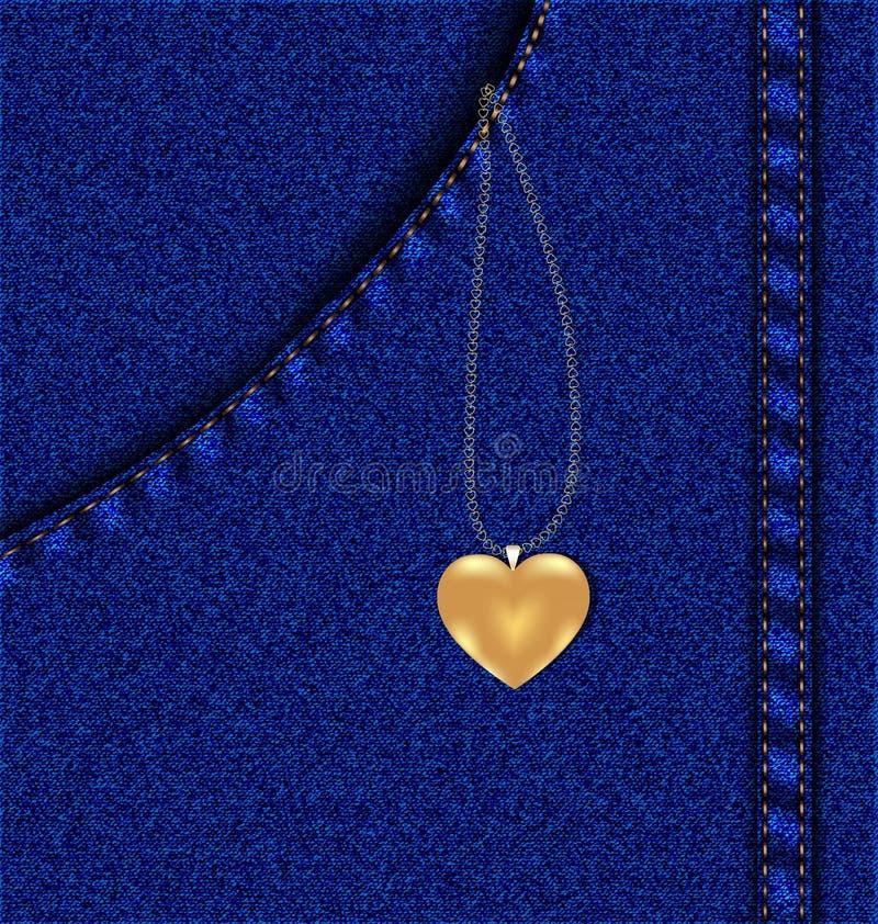 золотистое сердце в карманн джинсыов иллюстрация вектора