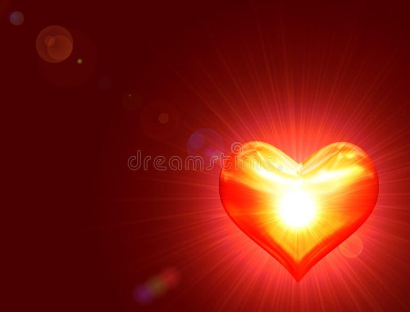 золотистое сердце светя иллюстрация вектора