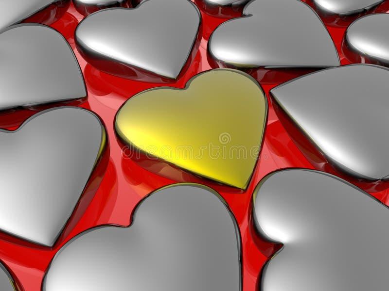 золотистое сердце уникально иллюстрация вектора