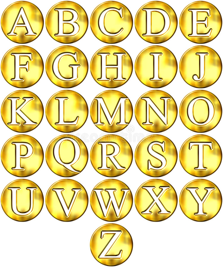 золотистое 3d обрамленное алфавитом бесплатная иллюстрация