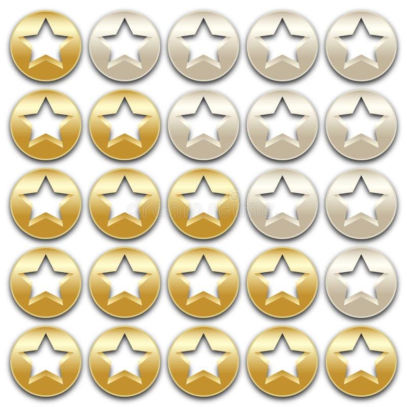 золотистые звезды номинальности иллюстрация штока