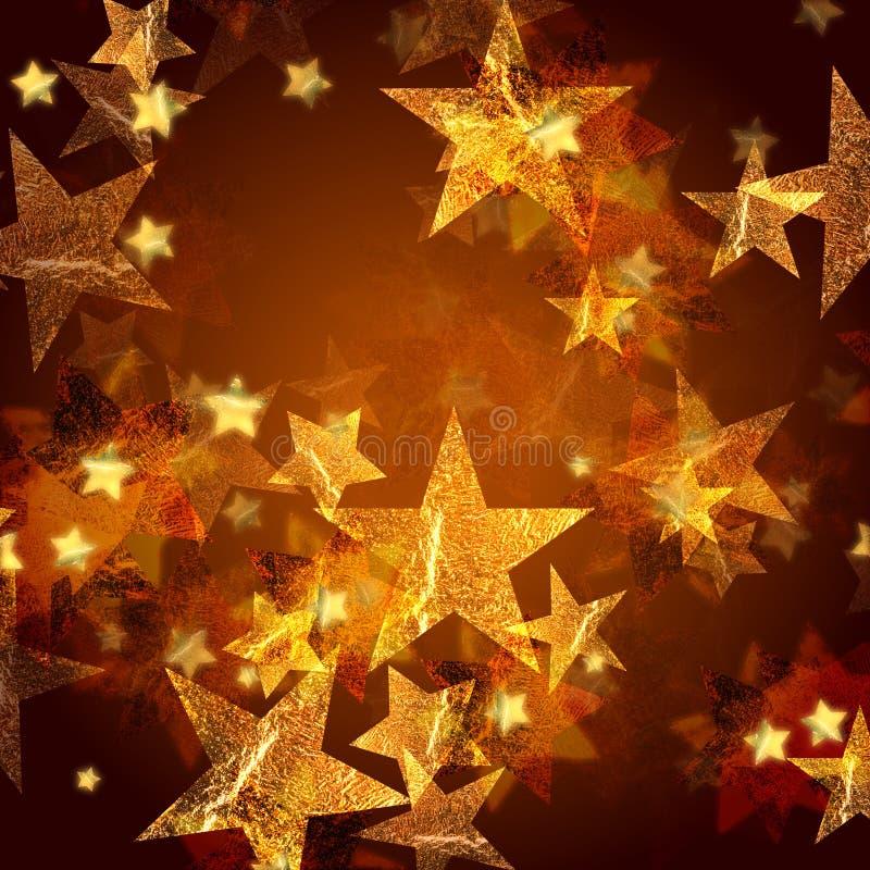золотистые звезды иллюстрация вектора
