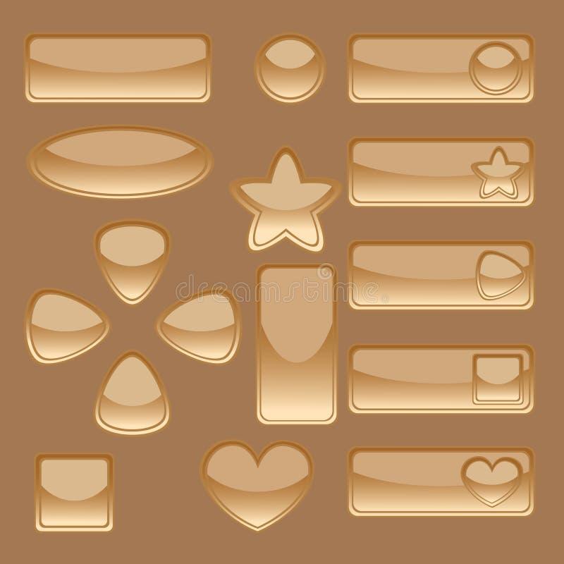 Золотистые кнопки сети иллюстрация штока