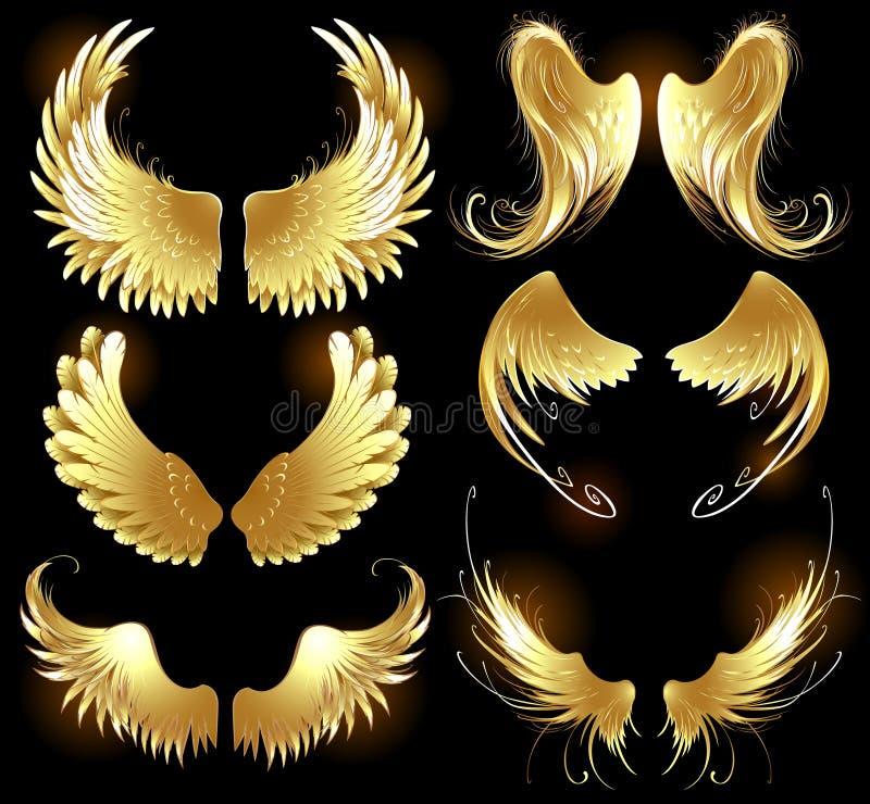 Золотистые крыла ангелов иллюстрация штока
