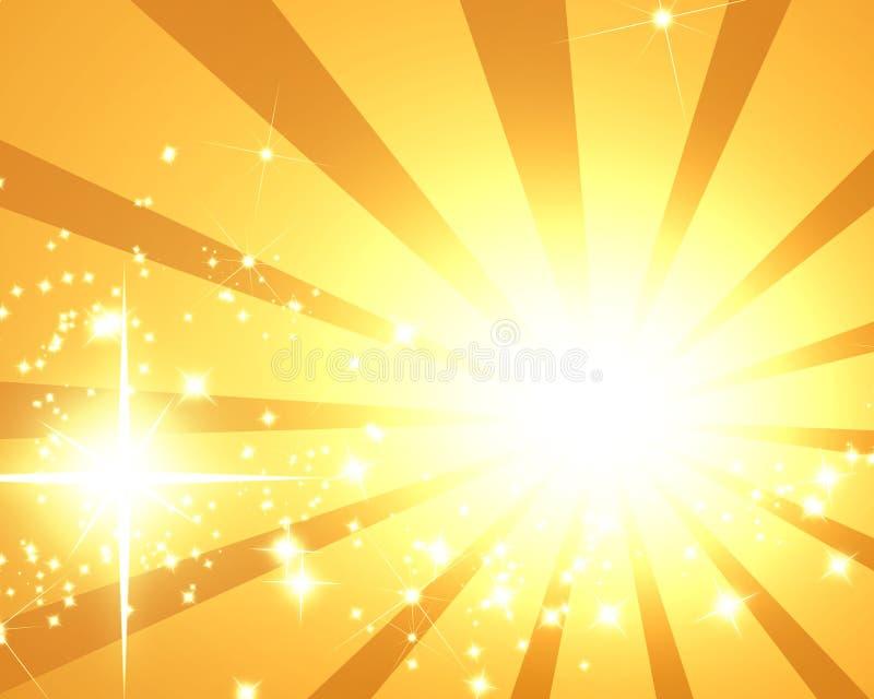 Золотистые лучи иллюстрация вектора