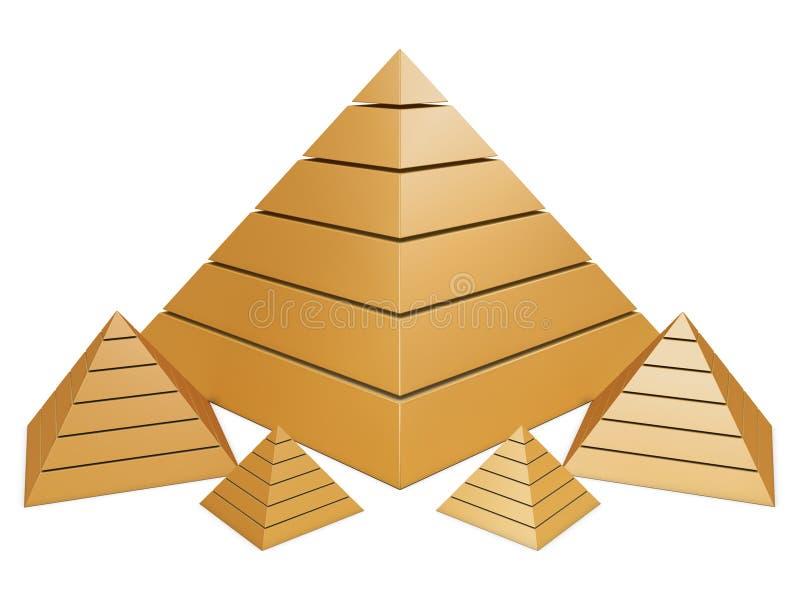 золотистые пирамидки группы иллюстрация штока