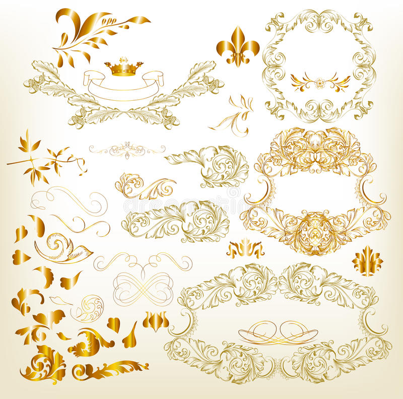 Золотистые роскошные каллиграфические элементы конструкции иллюстрация штока