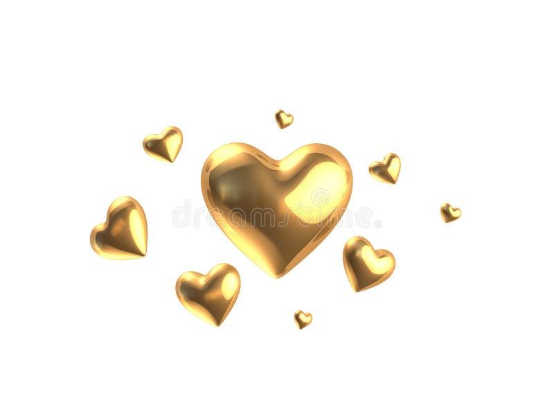 золотистые сердца бесплатная иллюстрация