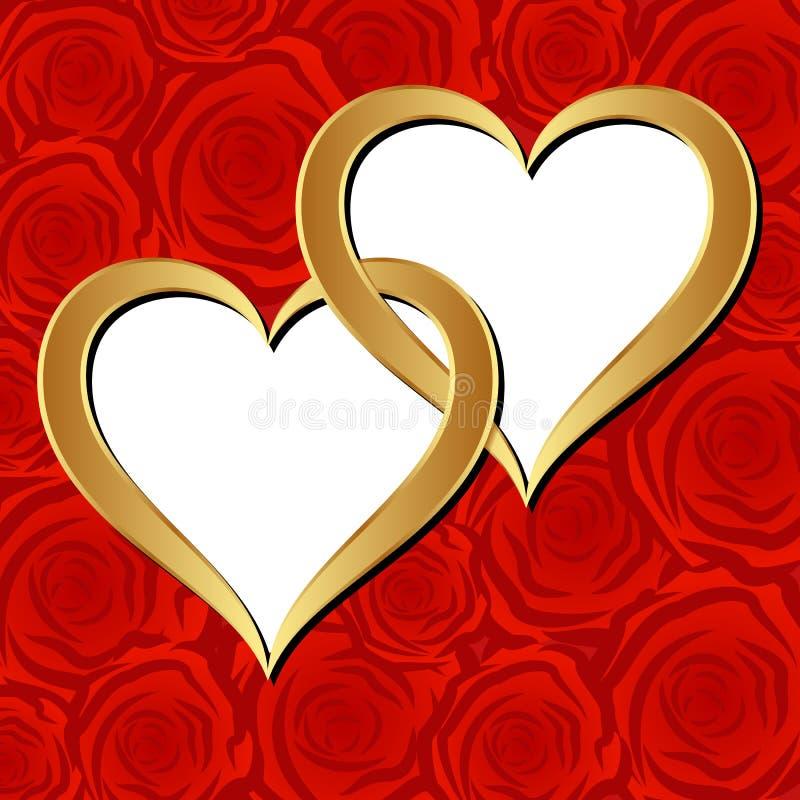 Золотистые сердца Стоковое Изображение