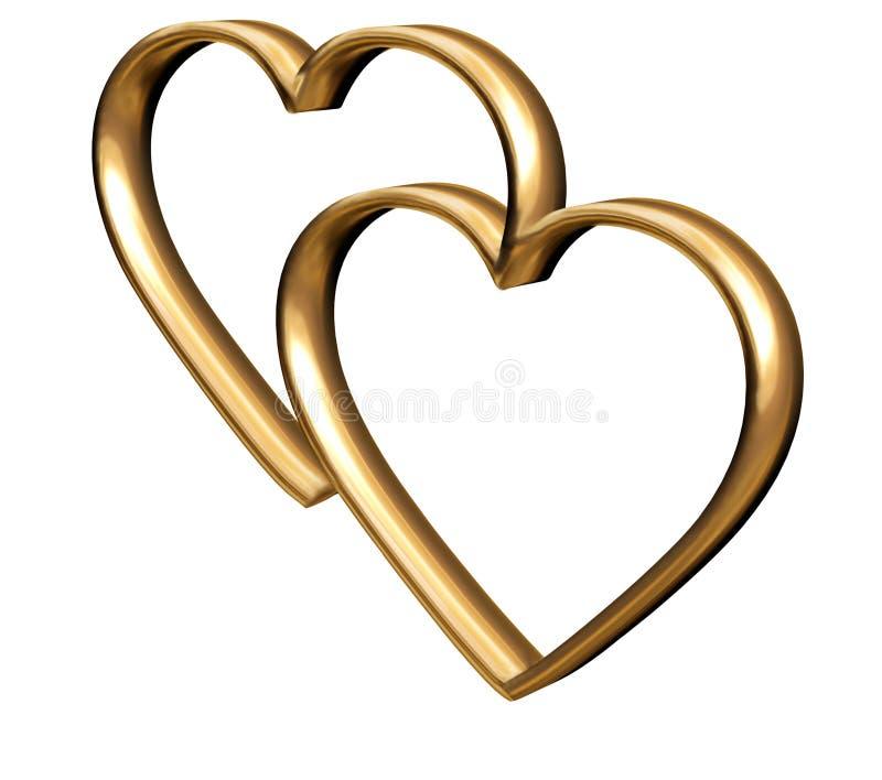 золотистые сердца 3d бесплатная иллюстрация