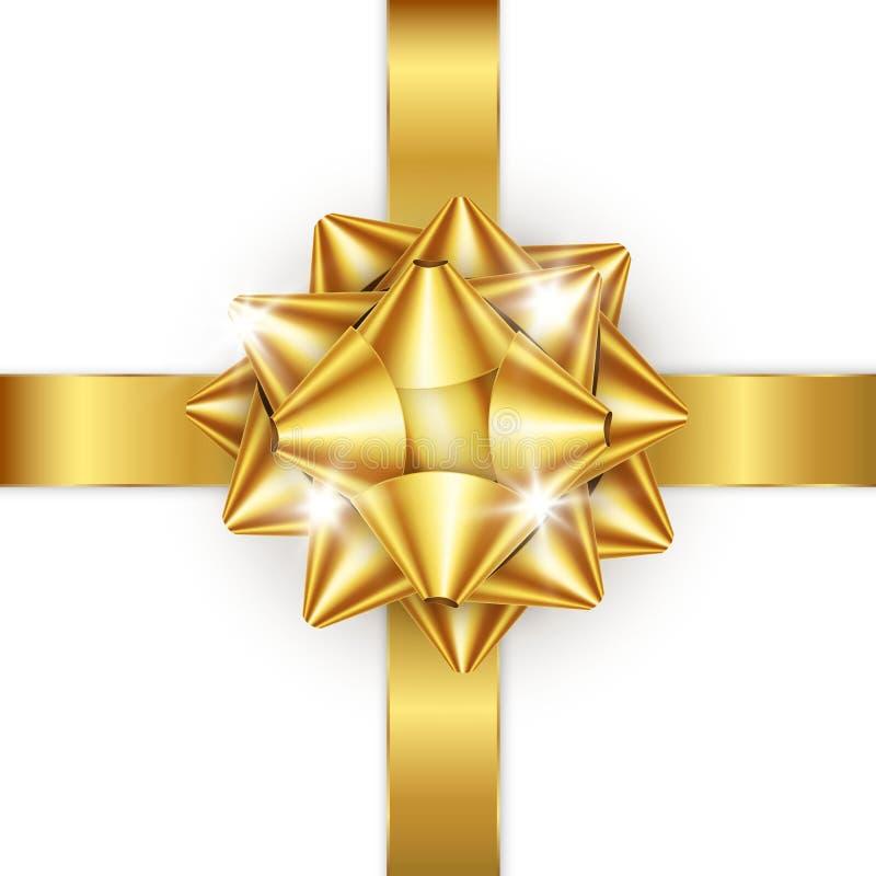 Золотистые смычок и тесемка Элемент для подарков украшения, приветствия, праздники также вектор иллюстрации притяжки corel бесплатная иллюстрация