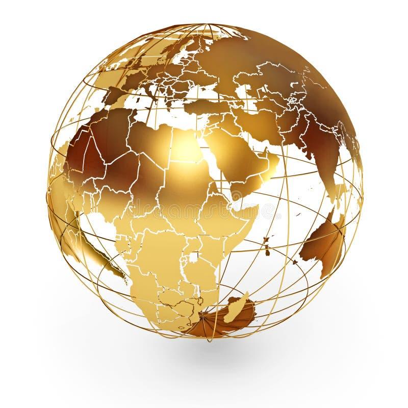 Золотистый глобус иллюстрация штока