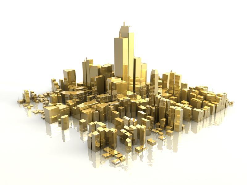 золотистый город 3d стоковые фото