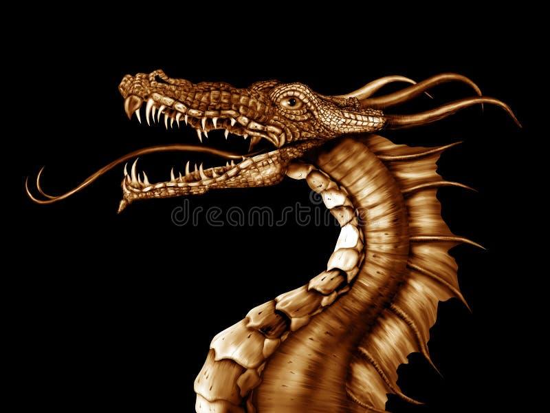 Золотистый дракон иллюстрация штока