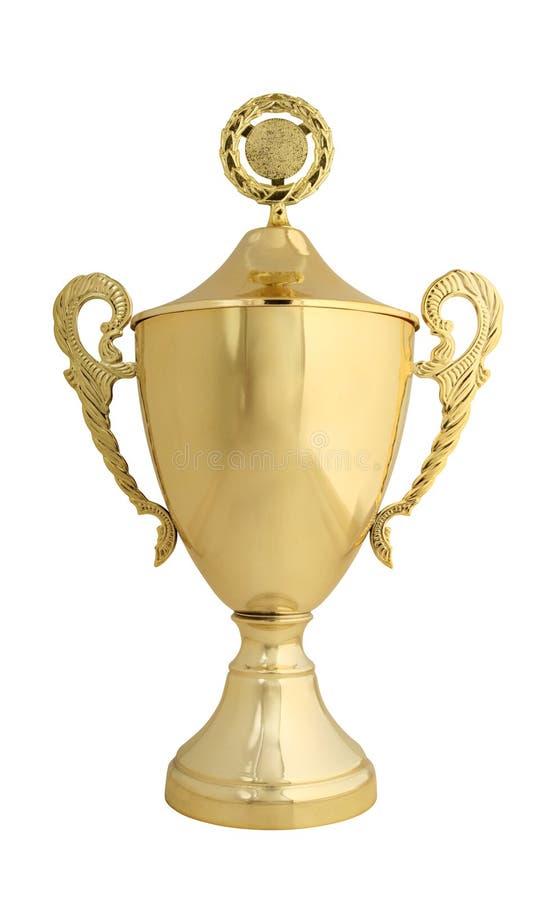 золотистый изолированный whit трофея стоковая фотография