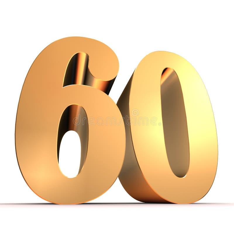 золотистый номер 60 иллюстрация вектора