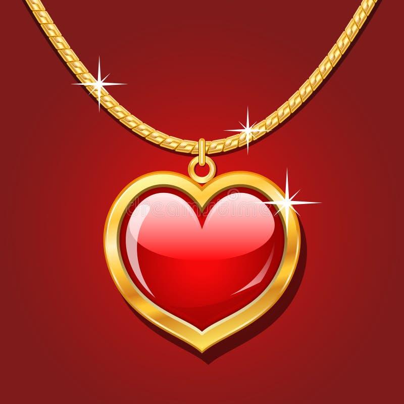 золотистый рубин ожерелья сердца иллюстрация штока