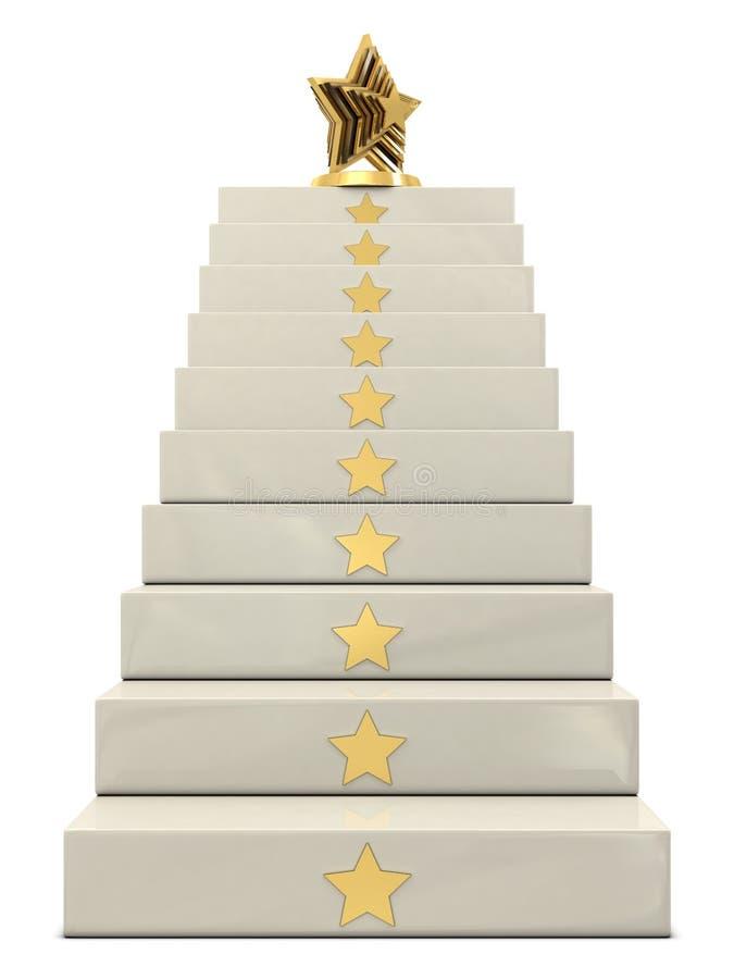 золотистый трофей верхней части звезды лестниц иллюстрация штока