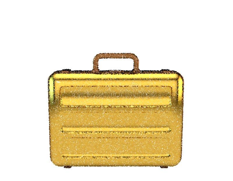 золотистый чемодан белизна изолированная предпосылкой Illustrati вектора иллюстрация штока