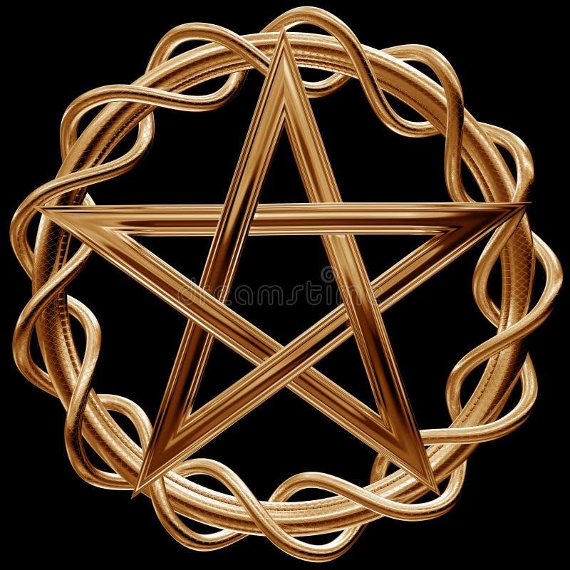 золотистый pentagram иллюстрация штока