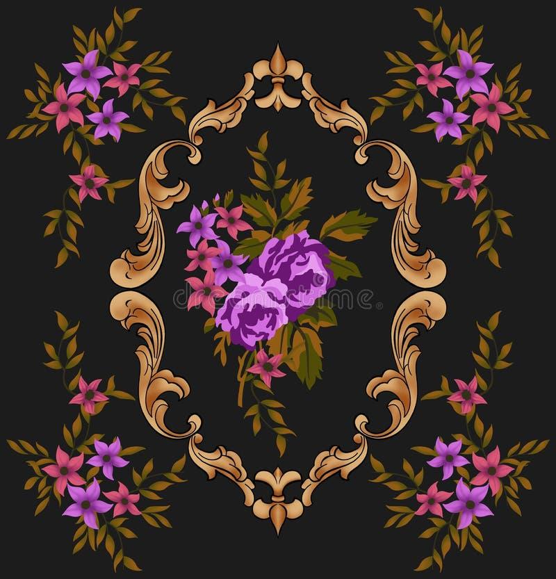 Золотое барокк и цветки стоковое фото rf