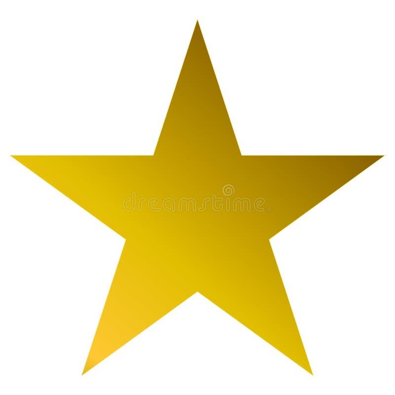 Золотое звезды рождества - простая звезда 5 пунктов - изолированное на белизне иллюстрация вектора