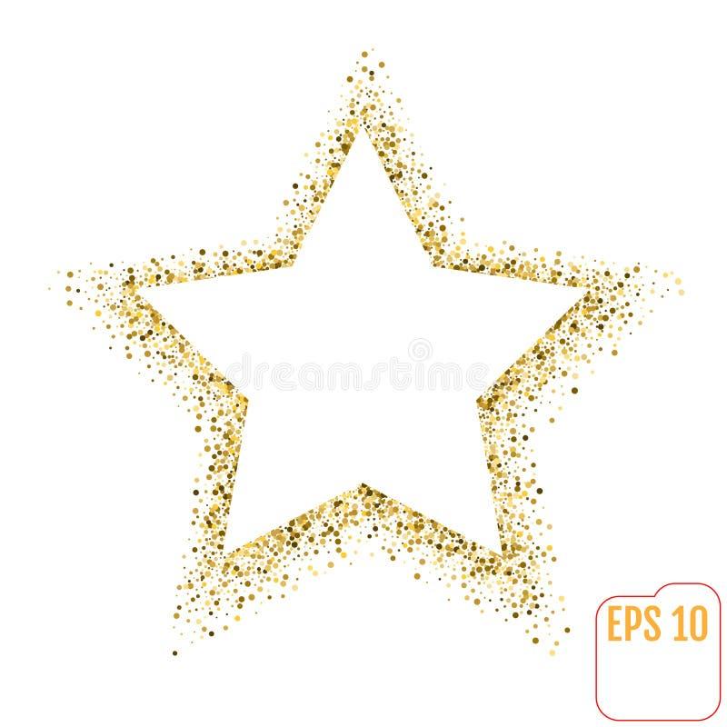 Золотое знамя вектора звезды на белой предпосылке Звезда яркого блеска золота иллюстрация штока
