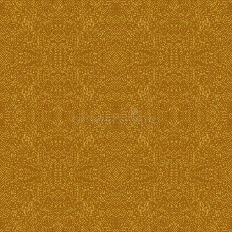 Золотое искусство с детальной безшовной линейной картиной иллюстрация вектора