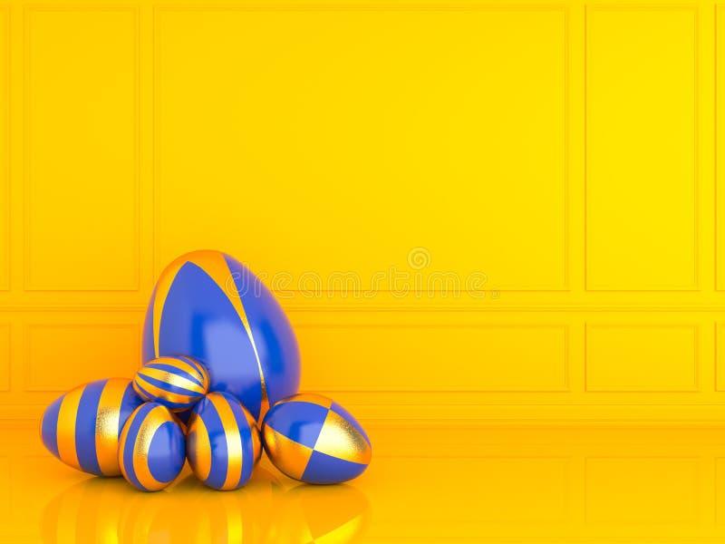 Золотое и голубое пасхальное яйцо с кроликом изображение перевода 3d иллюстрация вектора