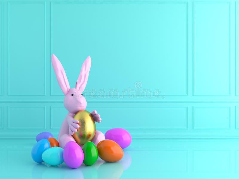 Золотое и голубое пасхальное яйцо с кроликом изображение перевода 3d иллюстрация штока