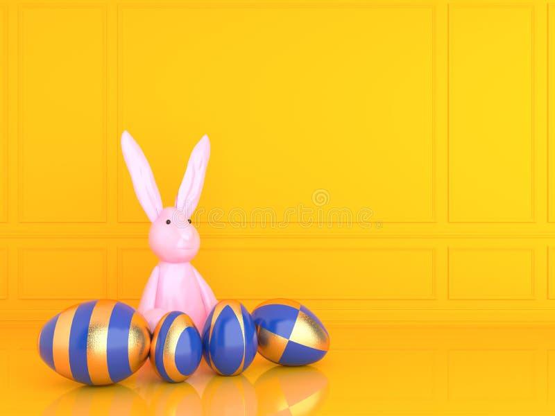 Золотое и голубое пасхальное яйцо с кроликом изображение перевода 3d бесплатная иллюстрация