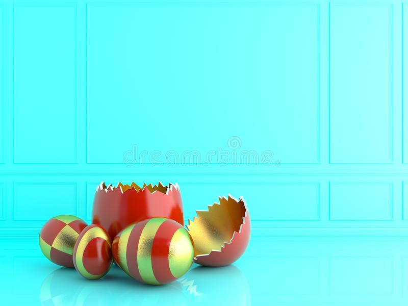 Золотое и красное пасхальное яйцо с кроликом изображение перевода 3d иллюстрация штока