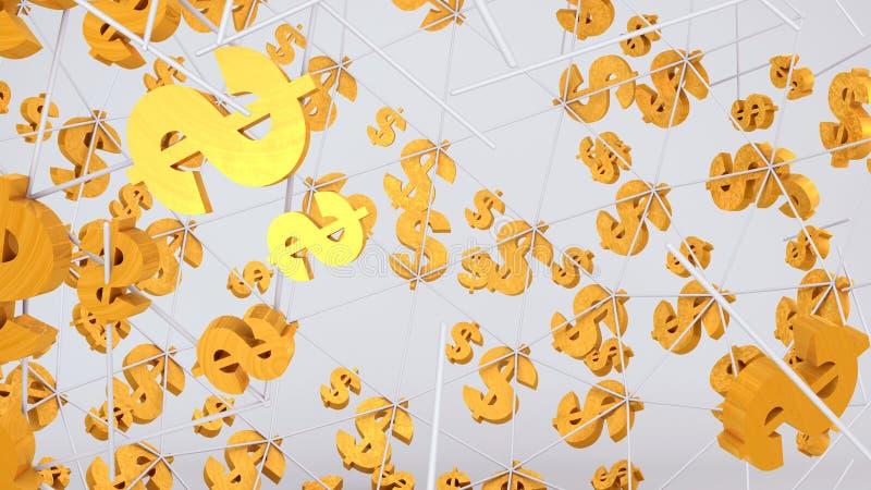 Золотое летание знака доллара на яркой предпосылке стоковое изображение rf