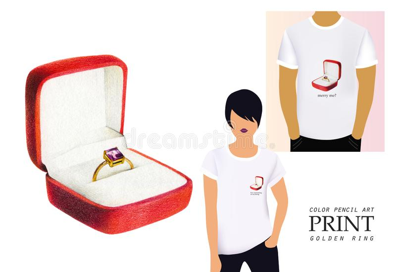 Золотое обручальное кольцо с диамантом в красной коробке бесплатная иллюстрация