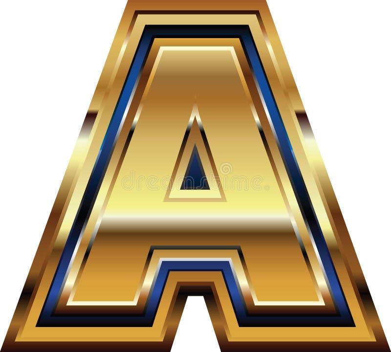 Золотое письмо a шрифта иллюстрация вектора