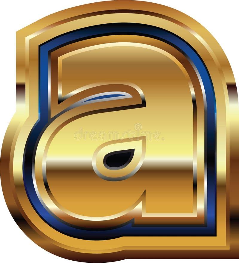 Золотое письмо a шрифта иллюстрация штока