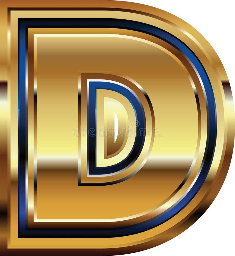 Золотое письмо d шрифта бесплатная иллюстрация