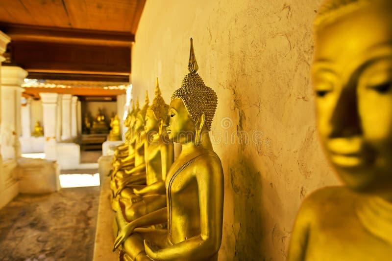 Золотое раздумье статуи Будды в измерении Таиланде стоковые фото