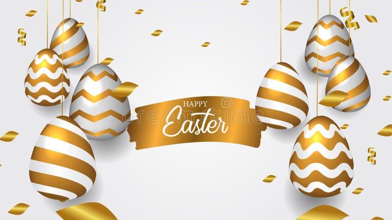 Золотое реалистическое декоративное повешенное яйцо с confetti с событием торжества пасхи врага золота чернил щетки выплеска иллюстрация штока