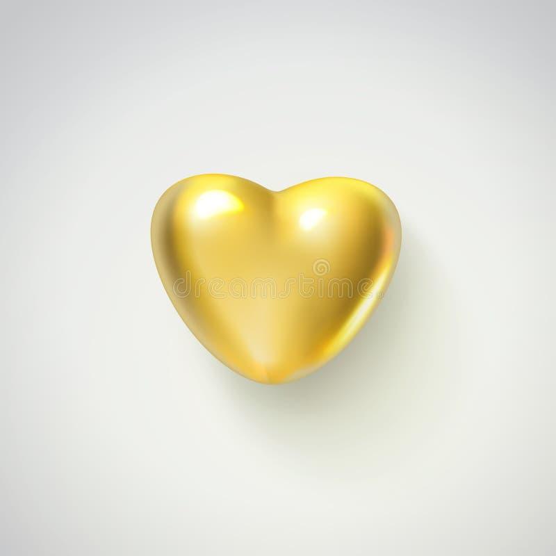 Золотое реалистическое сердце на белой предпосылке иллюстрация вектора 3d металлической роскошной формы сердца Счастливый иллюстрация штока