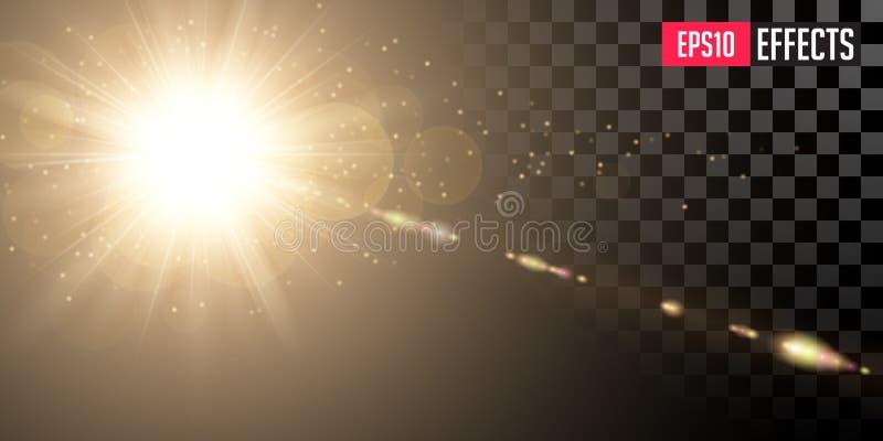 Золотое светя Солнце с прозрачными лучами и рефракцией объективов Влияние детонации золота иллюстрация штока