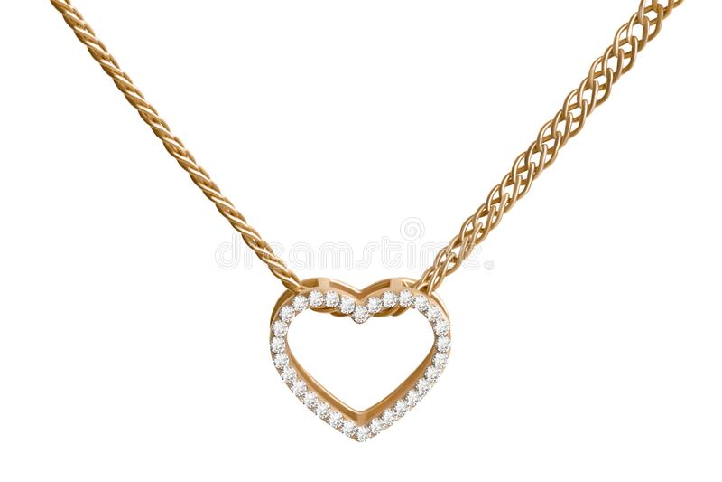 Золотое сердце на цепи стоковая фотография rf